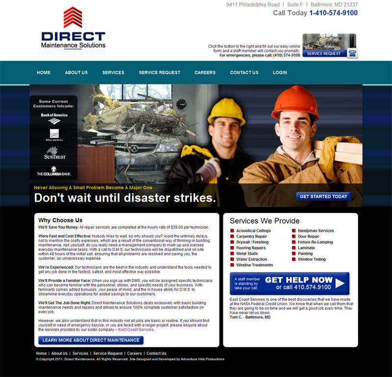 Adventure Web Productions has recently launched Direct Maintenance Solutions' Live Site!
