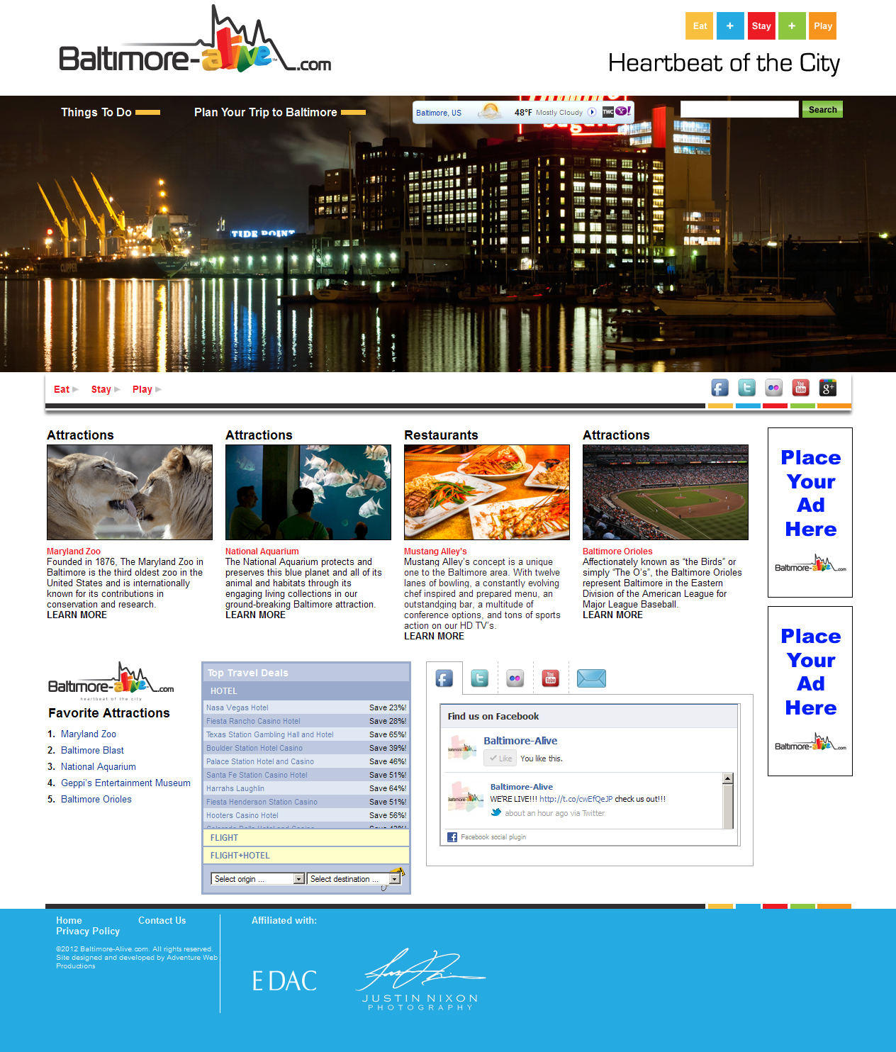 Adventure Web Productions has recently launched Baltimore Alive 's new live site!