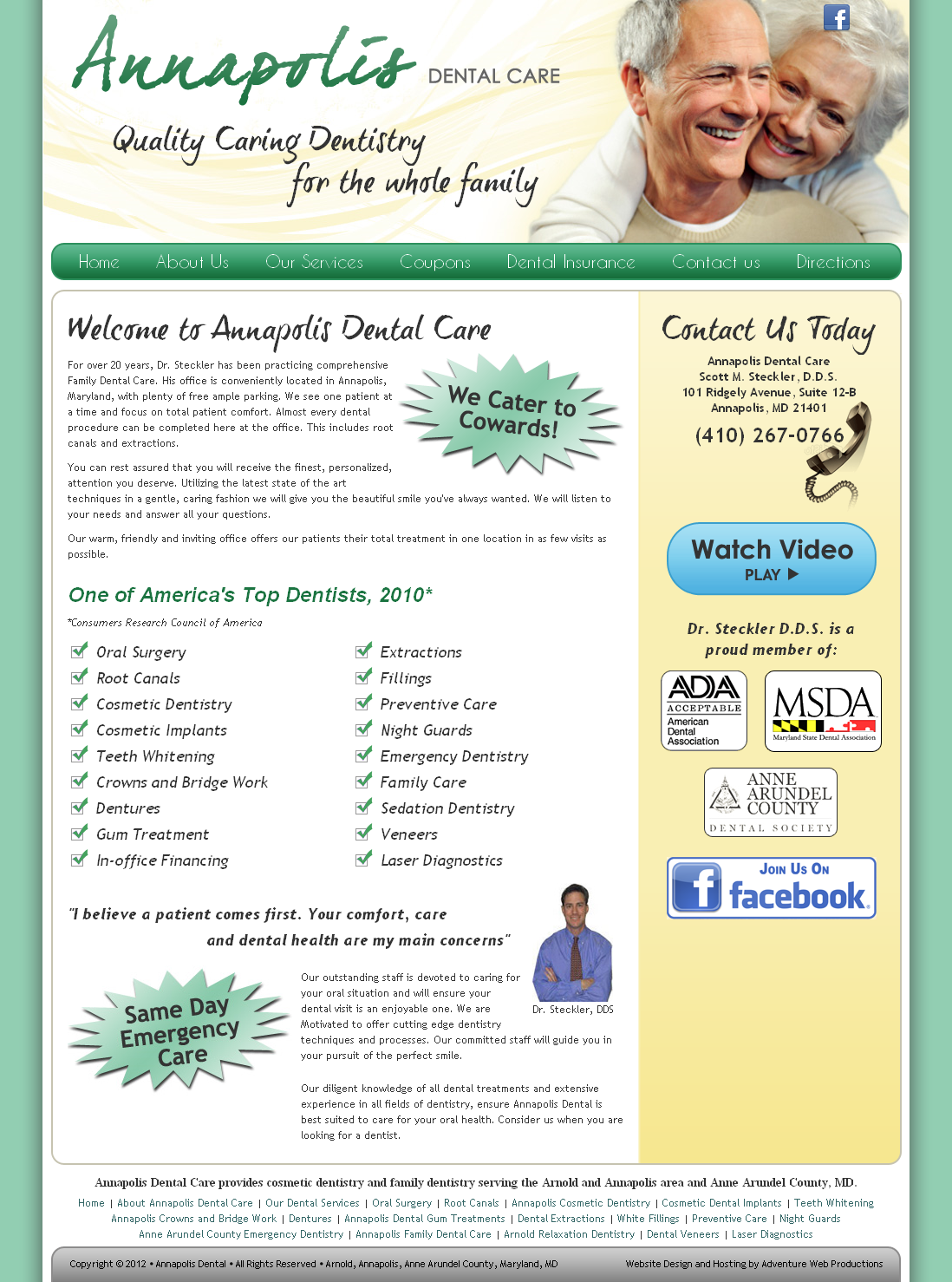 Adventure Web Productions has recently launched Annapolis Dental Care's new mobile website!