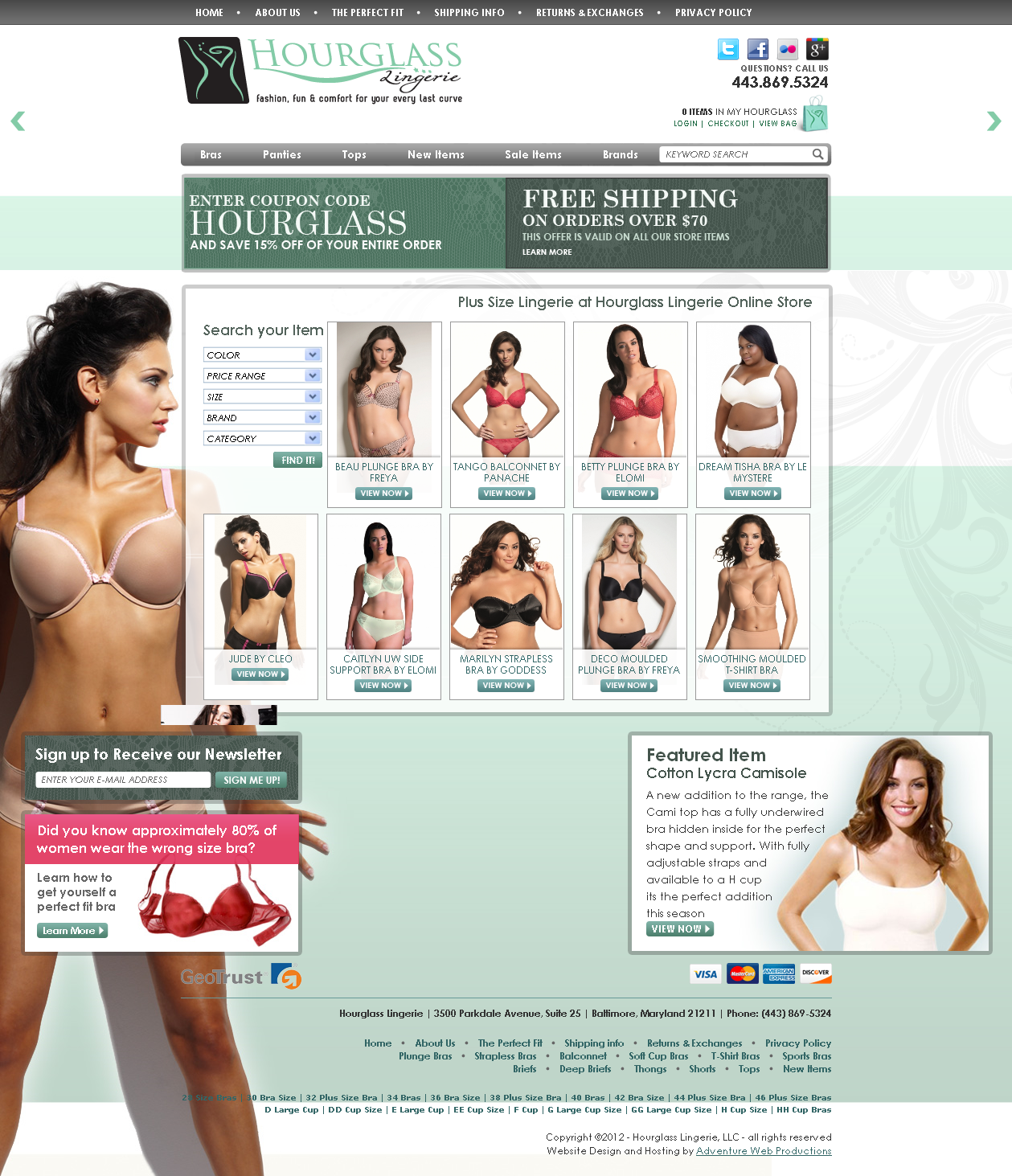 Adventure Web Productions has recently launched Hourglass Lingerie's new live site!
