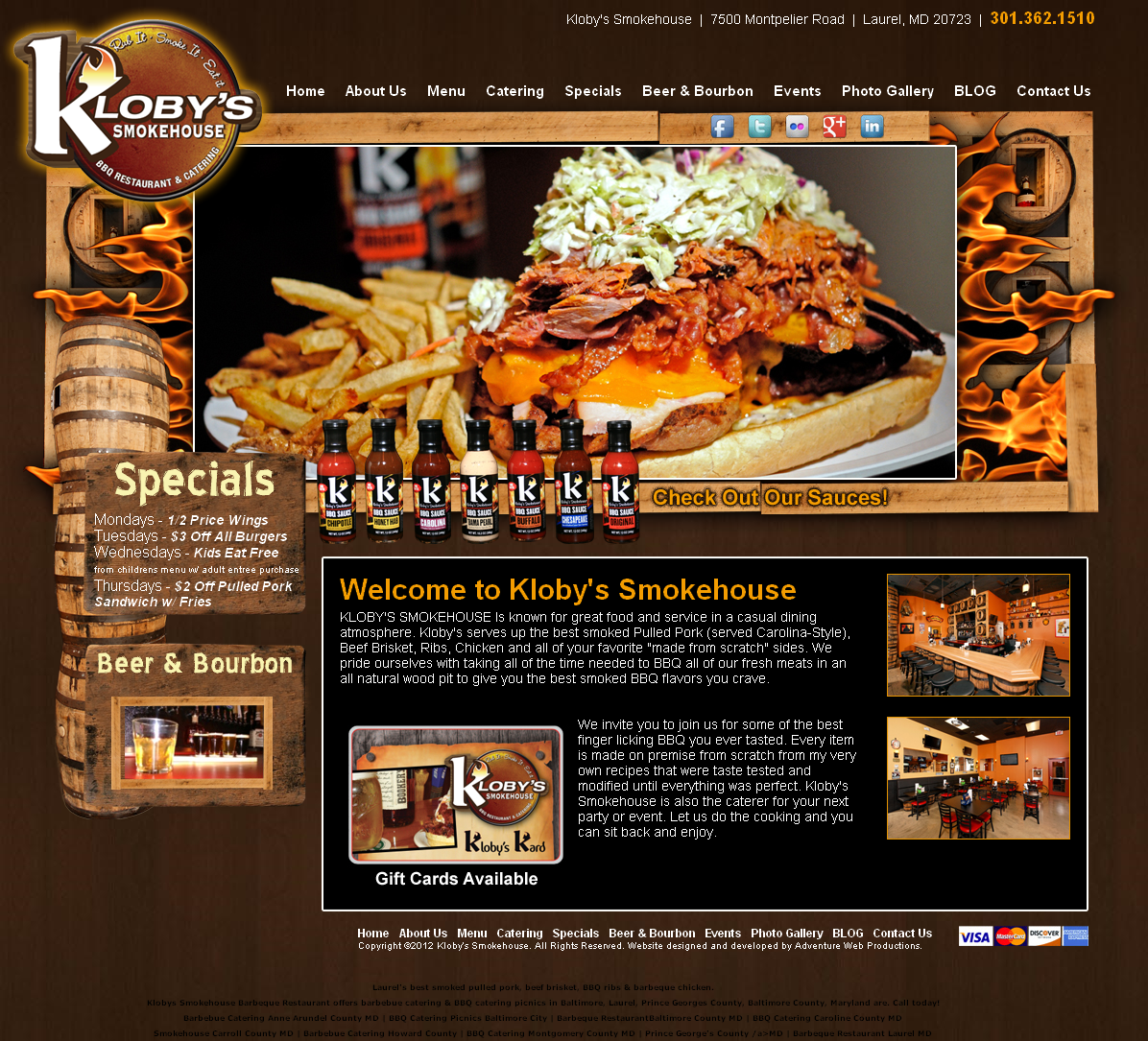 Adventure Web Productions has recently Kloby's SmokeHouse launched  new live site!