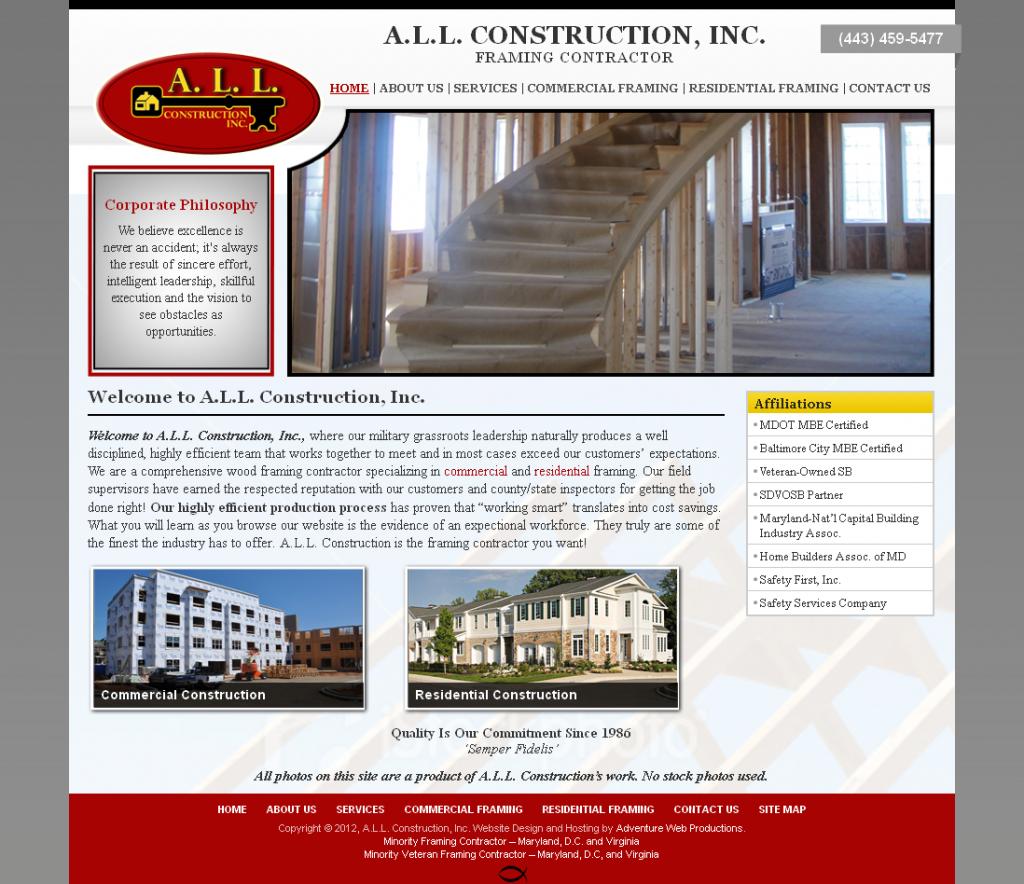 Adventure Web Productions Has A.L.L. Construction, Inc. 's New Company Website!