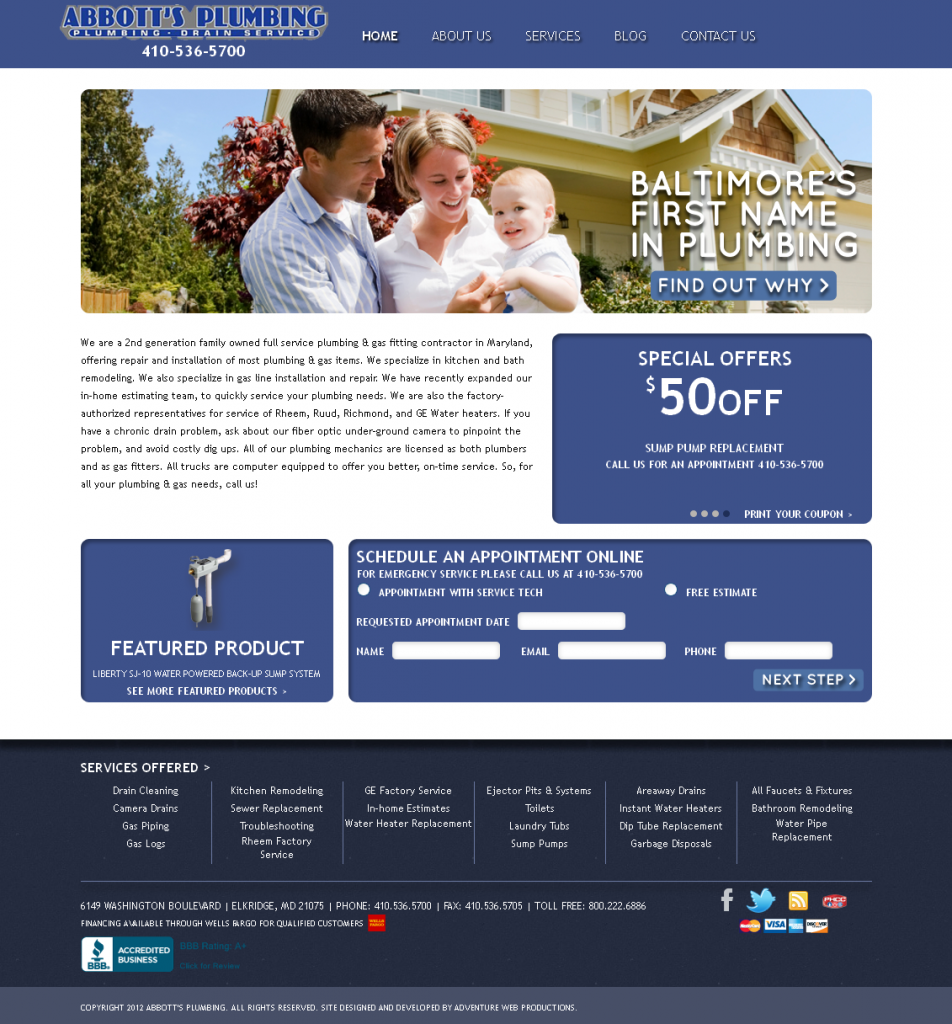 Adventure Web Productions Has Recently Launched Abbott's Plumbing's New Company Website!