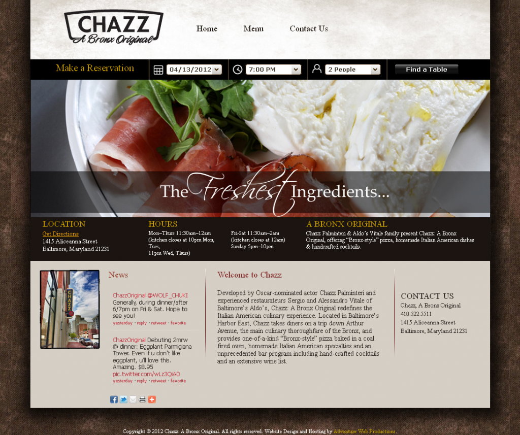 Adventure Web Productions Has Recently Launched Chazz: A Bronx Original's New Company Website!