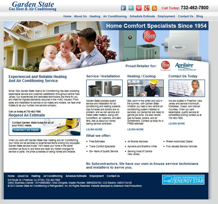 Adventure Web Productions Launches New Site Garden State Gas Heat Air Conditioning